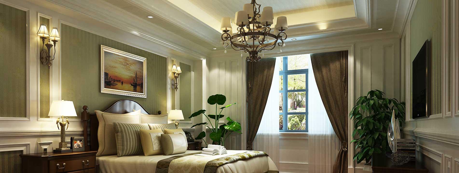 臥室集成吊頂與集成墻面整裝效果圖