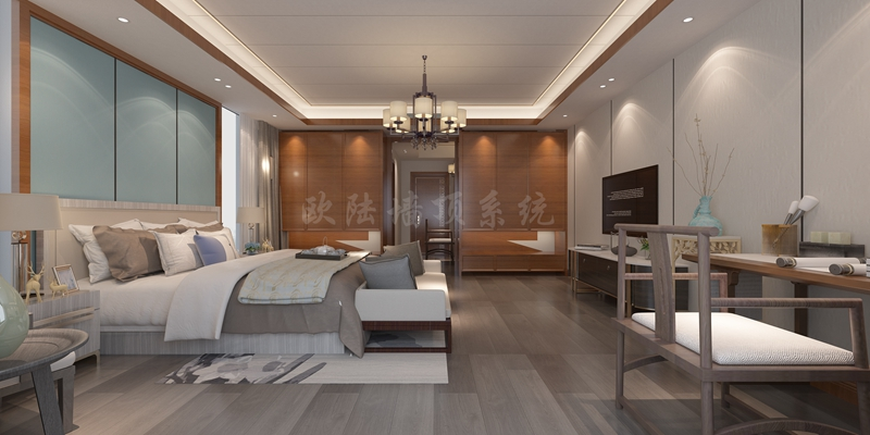 碳晶板卧室效果图1-全屋整装案例赏析效果图