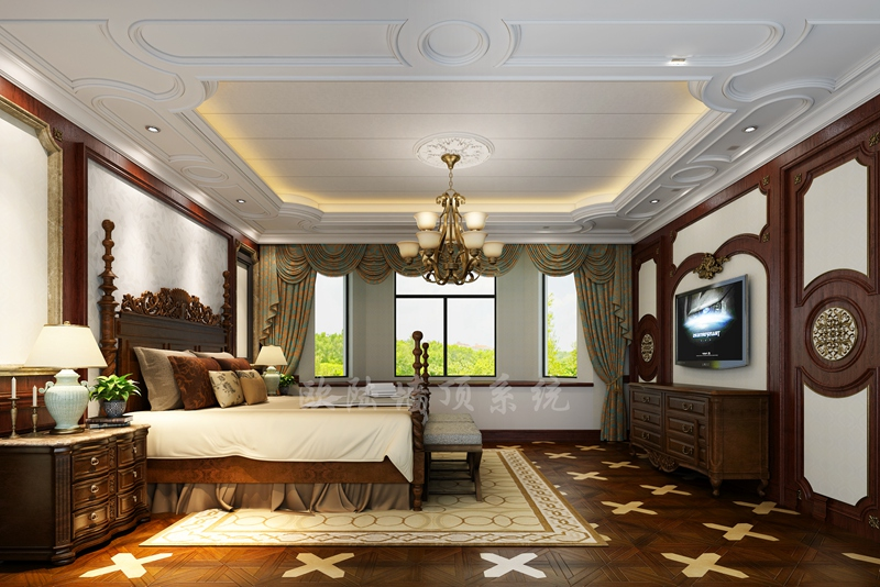 碳晶板卧室效果图3-全屋整装案例赏析效果图