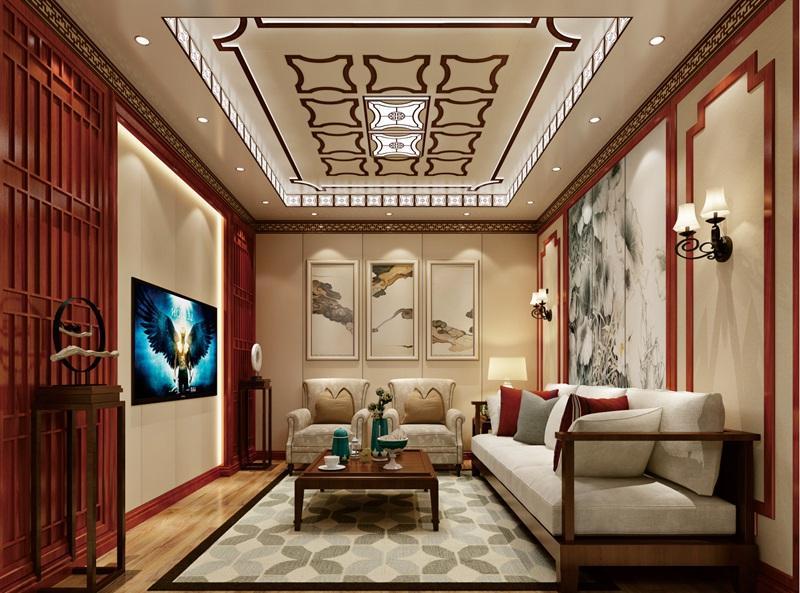新中式風格客廳集成吊頂、集成墻面整裝效果圖