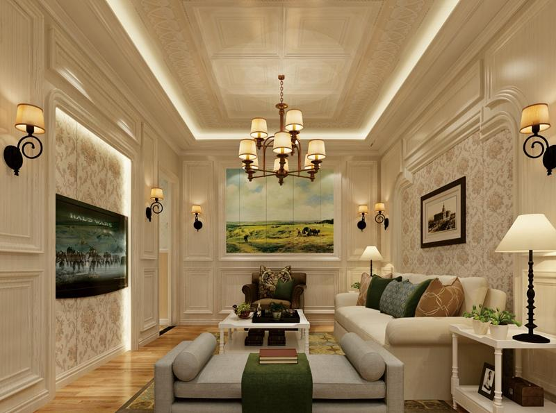 簡歐風格客廳集成吊頂、集成墻面整裝效果圖