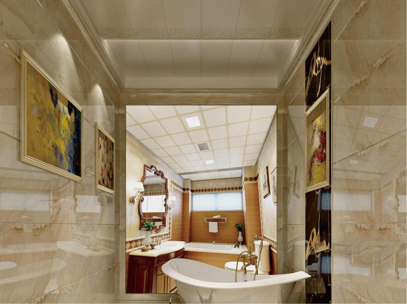 欧式风格卫生间集成吊顶浴霸、集成墙面整装效果图
