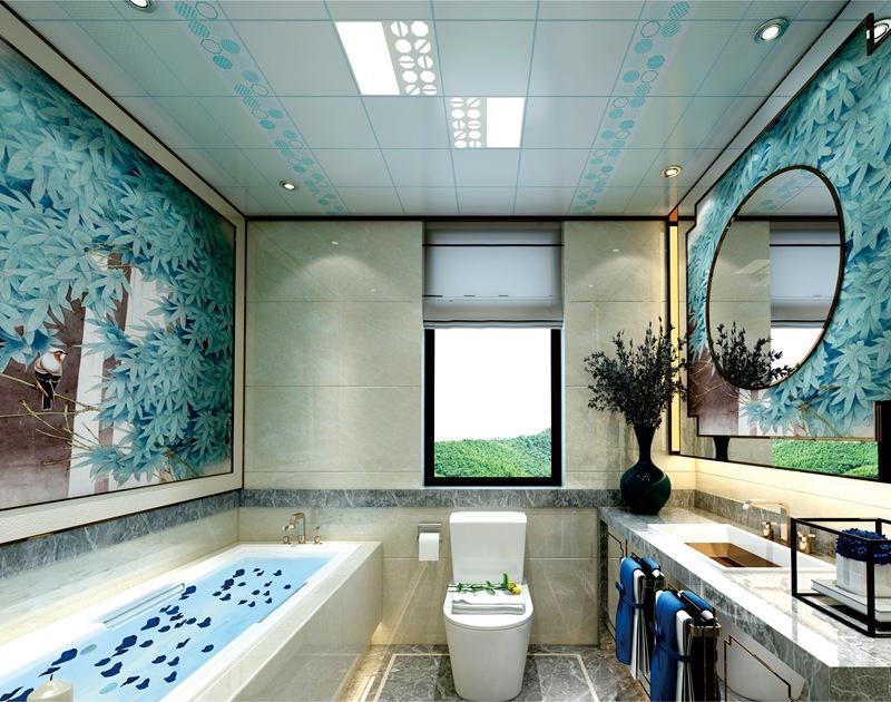 地中海蓝调风格卫生间集成墙面整装效果图