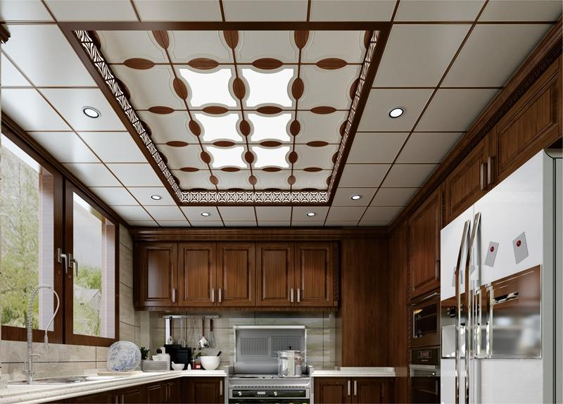 新中式风格餐厅集成吊顶墙整装效果图