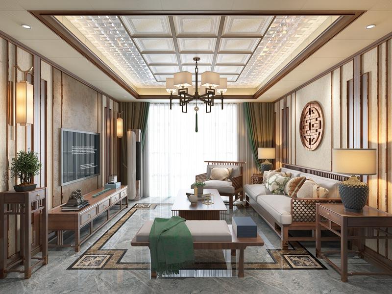 2018新品新中式客厅集成吊顶墙整装效果图