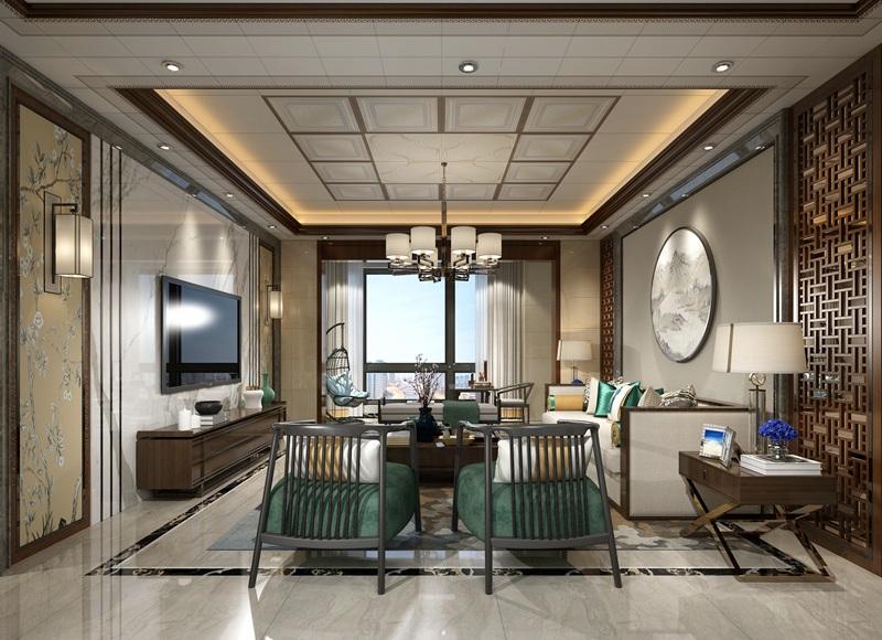2018年新品新中式客厅集成吊顶整装效果图